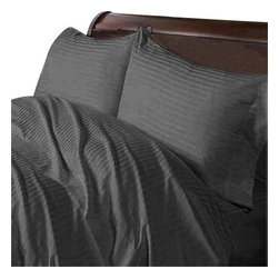 Hothaat - 400TC 100% Egyptian Cotton Stripe Elephant Grey Olympic Queen Size Fitted Sheet - Redefine your everyday elegance with these luxuriously super soft Fitted Sheet. This is 100% Egyptian Cotton Superior quality Fitted Sheet that are truly worthy of a classy and elegant   Size 1 Fitted Sheet 60 Inch(length) X 80 Inch(width) (Top surface measurement).