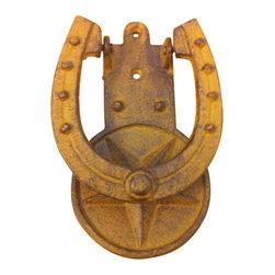 "AJchidph-1147 - Cast Iron Antique Light Brown Star Horse Shoe Door Knocker - Cast iron antique light brown star horse shoe door knocker. Measures 6"" x 4"". No assembly required."
