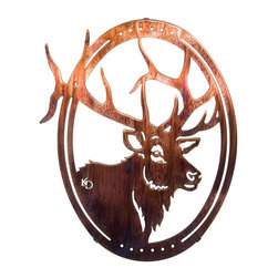 Lazart - Grand One 16-inch Rustic Oval Elk Metal Wall Art - Enjoy  the  artistry  of  the  elk  in  this  rustic  metal  wall  art  encircled  by  an  oval  frame.  With  antlers  so  large  they  can't  be  confined  within  the  oval,  this  rustic  metal  wall  art  design's  fine  details  are  precision  cut  by  laser  beam  from  cold  rolled  steel.  The  rich  honey  pinion  finish  on  this  rustic  metal  wall  art  will  soon  be  adding  a  special  warmth  to  your  favorite  rustic  room  when  you  order  today.            See  more  rustic  wildlife  metal  wall  art.                  Honey  pinion  finish  is  applied  through  a  heat  transfer  process              Add  to  any  rustic  decor  for  a  wonderful  wildlife  touch
