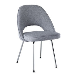 Modway - Cordelia Dining Chair in Light Gray - Participate in renewed growth and actualization with the Cordelia Side Chair. Sit comfortably as an aspirational back and up-surging arms compliment a dual-tone tweed fabric cushion. Sleek chrome legs solidify the progress as unlocked potentials are established with ease.