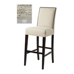 Home Decorators Collection - Custom Straight-Back Bar Stool - The classic, straight-top design fits any decor. The metal foot rest lets you kick back without scraping the chair's wooden legs. Individually applied brass nail heads add style and charm. Buy a set for your home today. Rubber wood and polyfoam construction. Assembled to order in the USA and delivered in approximately 8-10 weeks.