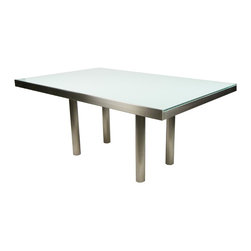 """BRUETON """"CHARLIE"""" RECTANGULAR DINING TABLE w/ LAMINATED GLASS BY STANLEY JAY FRI - Dimensions:L 66''  × W 42''  × H 30''"""