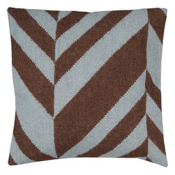 "Surya - Surya FA-033 Slanted Stripe Pillow, 22"" x 22"", Down Feather Filler - Make your room jump with this delicious pillow featuring a striking stripe pattern. Highlighted by smooth chocolate and soft blue coloring, this piece is not just a one hit wonder, but will remain a timeless part of your room for years to come! This pillow contains a zipper closure and provides a reliable and affordable solution to updating your home's decor. Genuinely faultless in aspects of construction and style, this piece embodies impeccable artistry while maintaining principles of affordability and durable design, making it the ideal accent for your decor."