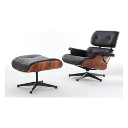Inmod - Classic Plywood Lounge Chair & Ottoman, Black - The Classic Plywood Lounge Chair & Ottoman are highly accurate and durable reproductions.