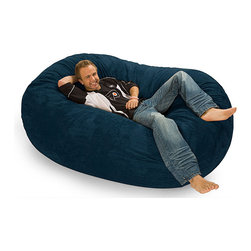 None - Six-foot Oval Navy Blue Microfiber and Foam Bean Bag - Lounge in comfort and style with this large navy bean bag chair. This convenient seating option can be laid down as a bed or propped up as a chair. This durable bag is composed of a Durafoam-blend fill and makes a great addition to any room.