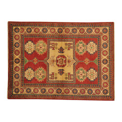 100% Wool 4'x6' Kazak Tribal Design Hand Knotted Oriental Rug SH16655 - This collections consists of well known classical southwestern designs like Kazaks, Serapis, Herizs, Mamluks, Kilims, and Bokaras. These tribal motifs are very popular down in the South and especially out west.