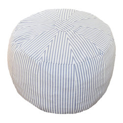 "Oliver B - Blue Striped Pouf - Whether being used as a nursery ottoman or playroom seat, House of Hazel's Poufs are a versatile, must-have décor item. Great for kicking your feet up while feeding your baby in the nursery or living room. Measures 15"" x 20"" x 19"" and weighs approx. 5 lbs. 100% cotton canvas cover with zipper bottom for removal and wash. Machine washable, cold water. Lay flat to dry. 100% polyfil foam stuffing. Made in the USA of imported materials."