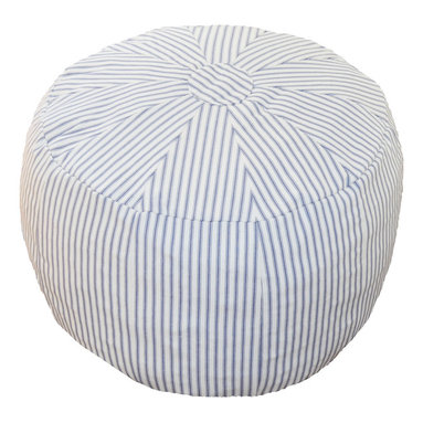 """Oliver B - Blue Striped Pouf - Whether being used as a nursery ottoman or playroom seat, House of Hazel's Poufs are a versatile, must-have décor item. Great for kicking your feet up while feeding your baby in the nursery or living room. Measures 15"""" x 20"""" x 19"""" and weighs approx. 5 lbs. 100% cotton canvas cover with zipper bottom for removal and wash. Machine washable, cold water. Lay flat to dry. 100% polyfil foam stuffing. Made in the USA of imported materials."""