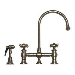 Whitehaus - WHKBCR3-9101-BN Brushed Nickel Bridge Faucet - Whitehaus Vintage III bridge faucet with long gooseneck swivel spout