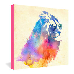 DENY Designs - Robert Farkas Sunny Leo Gallery Wrapped Canvas - He may be king of the jungle, but this cat never loses his cool. Artist Robert Farkas' captivating creation features dappled fields of color echoed by a hot-pink edge. The work is rendered in fade-resistant ink on stretched canvas for years of viewing pleasure.