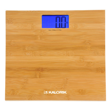 Kalorik - Modern Bamboo Scale - Stepping on a scale can be fraught with drama, so it's best to make the scale as pretty as possible to assuage the situation, right? This bamboo-finished scale would make a sleek impact in a contemporary or modern bathroom.
