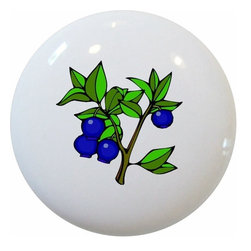 Carolina Hardware and Decor, LLC - Blueberries Blueberry Fruit Ceramic Knob - New 1 1/2 inch ceramic cabinet, drawer, or furniture knob with mounting hardware included. Also works great in a bathroom or on bi-fold closet doors (may require longer screws). Item can be wiped clean with a soft damp cloth. Great addition and nice finishing touch to any room!