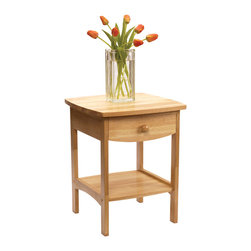 Winsome - Curved End table/Night Stand - Elegantly simple, this night stand has room for all the necessary nightime accessories. Its curved, smooth design blends well with any style of bedroom decor.