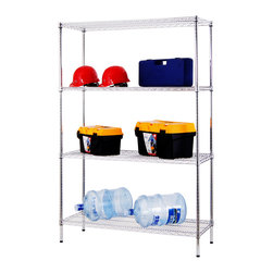 "Excel - Excel 4-Tier 48"" Wide Chrome Shelving Rack - This four-tier NSF Certified shelving unit features chromed steel ventilated shelves that adjust by one inch increments. The durable shelves hold up to 600 pounds each."