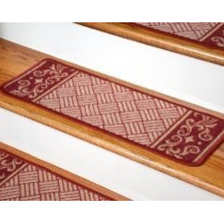 "Dean Flooring Company - Dean Washable Non-Skid Carpet Stair Treads - Cranberry Scroll Border (Set of 13) - Dean Washable Non-Skid Carpet Stair Treads - Cranberry Scroll Border (Set of 13) : Washable non-skid carpet stair treads by Dean Flooring Company. Helps reduce slips on your hardwood stairs. Great for helping your dog easily navigate your slippery staircase. Nylon pile with a machine washable non-skid latex backing (wash on delicate in cold water, line dry). Also easy to spot clean or vacuum. Reduces noise. Reduces wear and tear on your hardwood stairs. Each set contains 13 pieces. Each tread is approximately 26"" x 9"". Easy DIY installation with double-sided carpet tape or recommended adhesive mesh tape (not included). Adds an attractive fresh new look to your staircase."