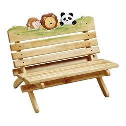 Teamson Kids - Sunny Safari Indoor and Outdoor Bench - Treat your little ones with our lovely and attractive sunny safari bench! Perfectly hand carved in the finest wood, this beautiful bench is designed by the Teamson company with exceptional quality and flair. Great for outdoor use throughout the summer season and can be moved into your child's room or playroom in the winter for year-round use. It's the perfect place for any child to read their favorite book, enjoy their handheld toys or just sit back and relax in the comfort of their very own bench. Whether they're playing, reading, or just hanging out with the family, this child-sized bench will keep them comfortably seated!    * Indoor and outdoor bench * Hand painted and hand carved * Assembly required