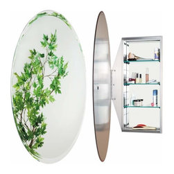 Alno Inc. - Alno Creations Oval Mirror Cabinet Stainless Steel Mc4950-Ss - Alno Creations Oval Mirror Cabinet Stainless Steel Mc4950-Ss