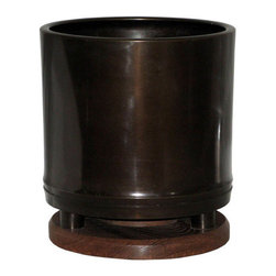 Japanese Bronze Hibachi - Vintage Taisho-period Japanese bronze hibachi (hand-warmer) with keyaki wood base. Beautiful patina. Can be used as a plant holder or for orchids.