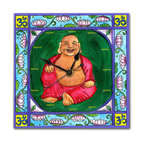 "Laughing Buddha Wall Clock - Our delightful Laughing Buddha Wall Clock reminds you to stay in the present and enjoy every moment. There are no numbers, instead it just says ""now"". Made in our studio, a print of an original watercolor by Northwest artist Pamela Corwin is dry mounted onto black foam board and heat-sealed with a protective laminate. It has a hanger on the back and comes in a gift box. The quartz movement runs on a single AA battery. Made in the USA. (Be sure to look for our Laughing Buddha alarm clock and Zen magnets, too!)"