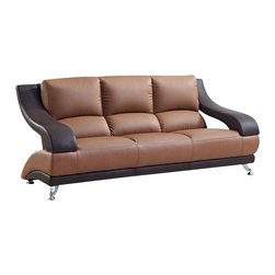 Global Furniture - Global Furniture USA 982 Bonded Leather Sofa in Brown and Dark Brown - Modeled to cater to both the desires of the contemporary or transitional home for design and comfort this sofa upholstered in bonded brown/tan leather will be a great choice for your living room. It features plush seating, and the curved details add the perfect finishing touch.