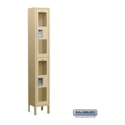 Salsbury Industries - See-Through Metal Locker - Double Tier - 1 Wide - 6 Feet High - 15 Inches Deep - See-Through Metal Locker - Double Tier - 1 Wide - 6 Feet High - 15 Inches Deep - Tan - Unassembled