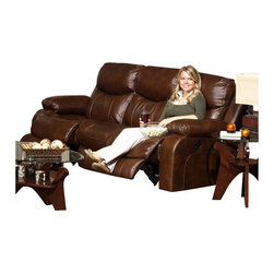Catnapper - Catnapper Dallas Reclining Sofa in Tobacco - Catnapper - Sofas - 4951124619304619 - This Sofa from Dallas Collection by Catnapper is upholstered in tobacco color leather with dramatic and bold stitching. Matching swivel glider recliner is also available. The contemporary pub headrest design of this collection makes it fit in any home decor!