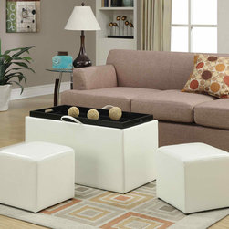 """Convenience Concepts - Sheridan Storage Bench with 2 Side Ottomans, White - Loads of storage space with seating. Remove the top to reveal 2 side ottmans. Turn the top over to find built in hardwood serving tray with cut out handles.; Fully Assembled; Storage Bench with Two Side Ottomans; Built in Hardwood Tray; Faux Leather Surface; Will Provide Years of enjoyment; Materials: Solid Wood, Flame Retardent Foam, Faux Leather, MDF; Weight: 34 lbs; Dimensions: 35.25""""L x 17.75""""W x 17.75""""H"""