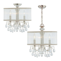 Crystorama - Crystorama Sonata Polished Chrome Chandelier 5623-CH Multicolor - 5623-CH - Shop for Ceiling Mounted Lighting from Hayneedle.com! Give in to the crystal fascination by adding the Crystorama Sonata Polished Chrome Chandelier 5623-CH to your decor today. An elegant centerpiece for transitional or contemporary dining rooms this crystal chandelier features clear oyster crystal pendants and polished chrome accents. A shimmering silver silk shade surrounds the three candelabras. Ceiling lighting this impressive doesn't come around every day.About Crystorama IncCrystorama Lighting was founded in Brooklyn New York in 1958 by Abraham Kleinberg. The company was initially established as a primary importer of crystal chandeliers from Bohemia-Northern Czechoslovakia and offered the finest selection of classical crystal designs. Abraham Kleinbergs passion as an artist and designer was inspired from various cultures around the world. Through his travels he has incorporated into the product line the full hand cut crystal the craftsmanship of decorative ironwork and the meticulous manner by which ornate castings are hand chased to bring out their intricate detailing. Crystoramas rich heritage has continued over the last 50 years by working with design communities in Europe India Asia and North America. The classically designed chandeliers continue to use the authentic molds and patterns to maintain the traditions of our forefathers. In a world of mass production Crystorama Lighting continues to offer classical chandeliers that require years of experience and specialized craftsmanship.