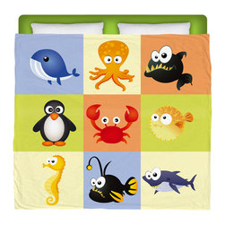 """Eco Friendly Made In USA """"Beach Animals""""  King Comforter - King Size Kids Beach Comforter From Our Surfer Bedding Seaside Bed and Bath Collection."""