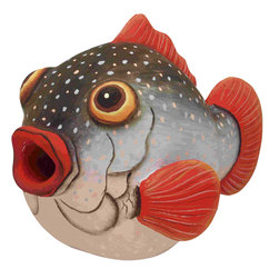 Songbird Essentials - Pufferfish Birdhouse - Songbird Essentials adds color and whimsy to any garden with our beautifully detailed wooden birdhouses that come ready to hang under the canopy of your trees. Hand-carved from albesia wood, a renewable resource, each birdhouse is hand painted with non-toxic paints and coated with polyurethane to protect them from the elements. By using all natural and nontoxic components Songbird Essentials has created a safe environment complete with clean-out for our feathered friends.