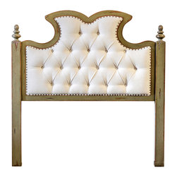 Radcliff King Headboard - At once stately yet boasting a simple beauty, the Radcliff King Headboard presents a distinctive diamond-tufted ivory linen handsomely accented with antique brass nails. The solid mahogany posts and frame boast an on-trend finish of distressed charcoal with warm honey undertones. The French cleat wall attachment allows for ease of use in a master suite or guest room.