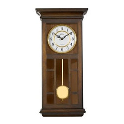 Bulova Mayfair Wall Clock - 11.5W x 24H in. - The Mission-inspired looks of the Bulova Mayfair Wall Clock - 11.5W x 24H in. make it a unique and lovely accent in any room. The antique walnut finish and goldtone pendulum provide striking details. The triple-chime movement plays Westminster, Ave Maria, or Bim-Bam chimes on the hour.About Bulova CorporationThe realization of a great American dream began in 1875 when Joseph Bulova, a 23-year-old immigrant from Bohemia, opened a small jewelry store on Malden Lane in New York City. This modest enterprise was to evolve into one of today's preeminent watch and clock companies. In 1911, Bulova began manufacturing boudoir and desk clocks, along with fine pocket watches, which he made and sold in unprecedented numbers. During World War I, wristwatches were issued in the military for their greater convenience. Returning veterans brought home the new fashion - and a new market emerged.Bulova timepieces use only the finest materials, precision, craftsmanship, and state-of-the-art technology for enduring quality and performance. At the heart of each Bulova watch is precision accuracy. From the finest quartz movements to alternative technologies such as solar or mechanical energy, each Bulova watch is guaranteed to be accurate to within one minute a year. Every Bulova is anti-magnetic, shock-resistant, and features the company's unique distortion-free and scratch-resistant Dura-Crystal.Only Bulova offers the range of styling and the scope of products to meet everyone's needs. From the sporty Marine Star Collection to diamond watches and heirloom-quality timepieces, Bulova has a watch or clock that will complement your style.