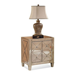 Bassett Mirror - Hollywood Glam Mirrored Campaign Chest - 26-110A - Hollywood Glam Collection Mirrored Campaign Chest