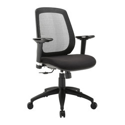 Modway - Modway EEI-1175 Cruise Adjustable Armrests Office Chair in Black - Complete your daily course of activities with the streamlined Cruise office chair. Stay climate-neutral with the breathable mesh back, while the foam padded waterfall seat keeps the pressure off your thighs. The pneumatic lever and tension control knob help you adjust the chair height and tilt to personalize Cruise, while the pivoting and height adjustable armrests make sure your upper-body is well-positioned regardless of your height. The nylon base also comes equipped with five dual-wheeled hooded casters for easy gliding over carpeted surfaces. Cruise is an office chair intended to take you places, without complicating the journey.