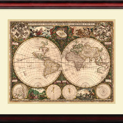 Amanti Art - Ward Maps 'World Map, 1660' Framed Art Print 29 x 25-inch - 'The world is a book, and those who do not travel read only a page.' Saint Augustine.  Fuel your wanderlust with this vintage World Map, 1660 from Ward Maps.