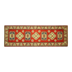 Manhattan Rugs - New Super Kazak Hand Knotted Wool 2' X 6' Red Veg Dyed Geometric Area Rug H5875 - Kazak (Kazakh, Kasak, Gazakh, Qazax). The most used spelling today is Qazax but rug people use Kazak so I generally do as well.The areas known as Kazakstan, Chechenya and Shirvan respectively are situated north of  Iran and Afghanistan and to the east of the Caspian sea and are all new Soviet republics.   These rugs are woven by settled Armenians as well as nomadic Kurds, Georgians, Azerbaijanis and Lurs.  Many of the people of Turkoman origin fled to Pakistan when the Russians invaded Afghanistan and most of the rugs are woven close to Peshawar on the Afghan-Pakistan border.There are many design influences and consequently a large variety of motifs of various medallions, diamonds, latch-hooked zig-zags and other geometric shapes.  However, it is the wonderful colours used with rich reds, blues, yellows and greens which make them stand out from other rugs.  The ability of the Caucasian weaver to use dramatic colours and patterns is unequalled in the rug weaving world.  Very hard-wearing rugs as well as being very collectable