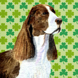 Caroline's Treasures - Springer Spaniel St. Patrick's Day Shamrock Portrait Flag Canvas House Size - Full size house flag is made from a 100% polyester heavy weight canvas material. Not your typical house flag that you might find from a mass merchant. These flags are only sold online and in specialty boutiques. This flag is much heavier than most flags currently being sold by other manufacturers. This flag is fade resistant and weather proof. The flag measures approximately 28 inches x 40 inches (wooden flag pole, hanging bracket or yard stand sold seperaletly)
