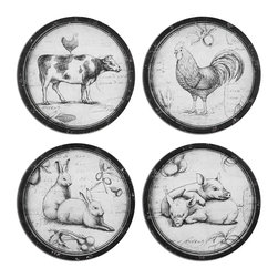 Uttermost - Uttermost Farmer's Choice Art Set of 4 55010 - This collection of farm animals is oil reproductions that feature the image printed on board. Frames are metal with heavily distressed black and medium brown undertones with a light gray glaze.