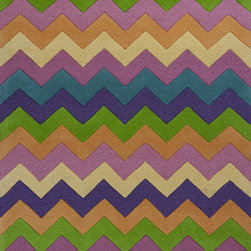"KAS - KAS Kidding Around 443 Chic Ziggy Zaggy (Multi) 7'6"" x 9'6"" Rug - Bring out the kid in you as you frolic through our Kidding Around Collection. Hand-tufted in India of 100% Wool, these rugs give toddlers and teens a place to relax and play around with friends. Fun and colorful themes give these rugs a playful look and feel."