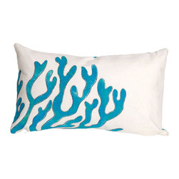"""Trans-Ocean Inc - Coral Blue 12"""" x 20"""" Indoor Outdoor Pillow - The highly detailed painterly effect is achieved by Liora Mannes patented Lamontage process which combines hand crafted art with cutting edge technology. These pillows are made with 100% polyester microfiber for an extra soft hand, and a 100% Polyester Insert. Liora Manne's pillows are suitable for Indoors or Outdoors, are antimicrobial, have a removable cover with a zipper closure for easy-care, and are handwashable.; Material: 100% Polyester; Primary Color: Blue;  Secondary color: white; Pattern: Coral; Dimensions: 20 inches length x 12 inches width; Construction: Hand Made; Care Instructions: Hand wash with mild detergent. Air dry flat. Do not use a hard bristle brush."""