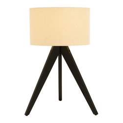 Benzara - Moda Table Lamp With Three Legged Stand - This chic and modern table lamp is guaranteed to turn heads and draw compliments. Solid wood treated in a rich dark coating is used to create this unique lamp. Each of the three legs adds to the balance of the piece, and the sleek fabric lamp shade completes that look perfectly. Keep one in the home office to conserve desk space.