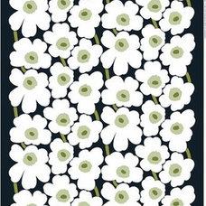 Marimekko Pieni Unikko Black / White / Green Fabric - Marimekko Cotton Fabrics