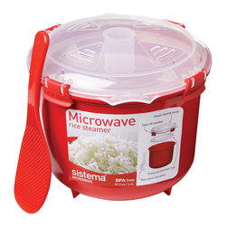 Sistema Microwave Rice Cooker - The Sistema Microwave Rice Steamer is the fast and easy way to cook rice for your family!  Simply put your rice in the vessel and follow the instructions to get it perfect every time.  No more messy pans when cooking rice.  Includes steamer  nonstick rice paddle  and instructions.Product Features            Works with any rice             Easy and mess free            Nonstick rice paddle included            Easiest way to cook rice            Capacity - 2.6 liters / 10 cups