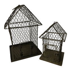 Heather Fields Home & Garden - Set of 2 Chicken Wire Bird Houses - Decorative set of 2 chicken wire bird houses. These are decorative only. Look great in any garden display, table scape or bookcase with flowers inside. Not a problem for direct weather. Large:9x9x14H Small: 6x6x10H