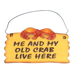 "Handcrafted Model Ships - Wooden Me and My Crab Live Here Beach Sign 8"" - Beach Bedroom Decor - Decorate your home with classic seafaring style, add to your collection of charming beach decor, and mount this Wooden Me and My Crab Live Here Sign 8 inch in your home. This sign features a pair of crabby crabs alongside each other on the wooden beach sign."