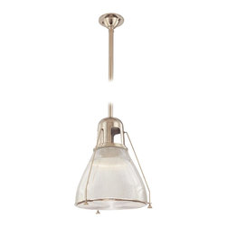 Hudson Valley - Hudson Valley 7315-PN 1 Light PendantHaverhill Collection - Embossed with sleek vertical ribbing, Haverhill's clear glass refracts brilliant light across its prismatic shade.  The collection's vintage marine details bring the lively spirit of the open sea to inland and coastal estates alike.  Slender spider arms s