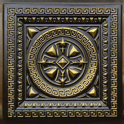 "Decorative Ceiling Tiles - Odysseus Shield - Faux Tin Ceiling Tile - 24""x24"" - #220 - Find copper, tin, aluminum and more styles of real metal ceiling tiles at affordable prices . We carry a huge selection and are always adding new style to our inventory."