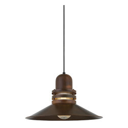 """THE PEGASUS CORD-HUNG COPPER & BRASS CEILING LIGHT - 18"""" Pegasus shown in 77-Rosewood Finish with Clear Ribbed Glass Globe & Black Cord"""