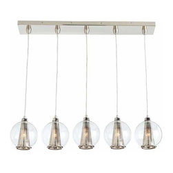 """Arteriors - Arteriors Home - Caviar Fixed Linear Nickel Clear Glass Pendant - This 5 light polished nickel linear pendant is the perfect fixture over a bar or counter. Features: Caviar Collection Pendant Polished nickel5 Lights Pendant Some Assembly Required. Dimensions: H 25 1/2"""" x W 33"""" x D 6"""""""