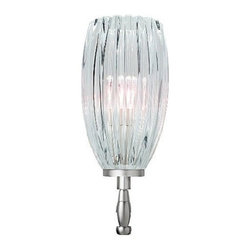 "LBL Lighting - LBL Lighting Flute low voltage chandelier head - Products description: The Flute low voltage chandelier head from LBL Lighting is designed by LBL Lighting and made in the USA. The Flute low voltage chandelier head is made for domestic and commercial use. It features a hand blown fluted glass than can be mounted up or down. This comes in a clear or amber color with a bronze or satin nickel finish.   Products description: The Flute low voltage chandelier head from LBL Lighting is designed by LBL Lighting and made in the USA. The Flute low voltage chandelier head is made for domestic and commercial use. It features a hand blown fluted glass than can be mounted up or down. This comes in a clear or amber color with a bronze or satin nickel finish.  This fixture is compatible with the LBL Single Circuit Monorail orLBL Two-Circuit Monorail.                                      Manufacturer:                                      LBL Lighting                                                     Designer:                                      LBL Lighting                                                     Made  in:                                     USA                                                     Dimensions:                                      Height: 7"" (17.8cm) X Width: 3.5"" (8.9cm)                                                     Light bulb:                                      1 X 35W GY6.35 Low Voltage Xenon                                                     Material                                      Metal, glass"